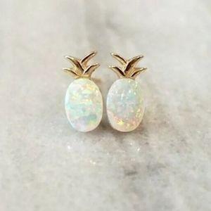 Jewelry - Gold Plated Pineapple Fire Opal Stud Earrigs